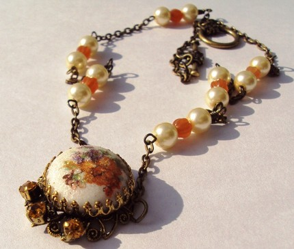 Marigold necklace by LeClairRoseDesigns, $17
