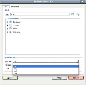Joomla JCE Insert Link Dialog