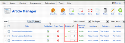 Joomla 1.5 Article Manager Screen