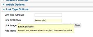 Joomla Menu Item Custom Class Configuration