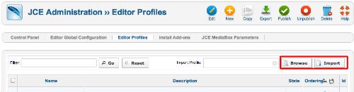 Import JCE Editor Profile