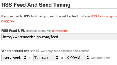 Mailchimp RSS Feed and Timing Screen