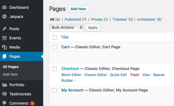 WordPress Page List