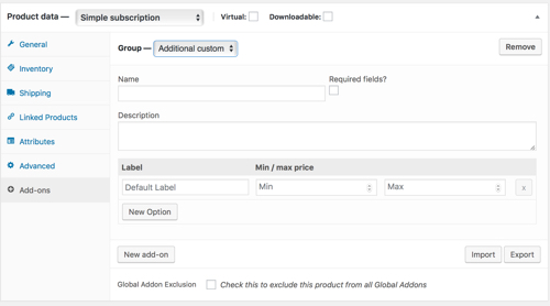 WooCommerce product add-on for a subscription product