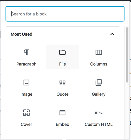 Gutenberg add file block