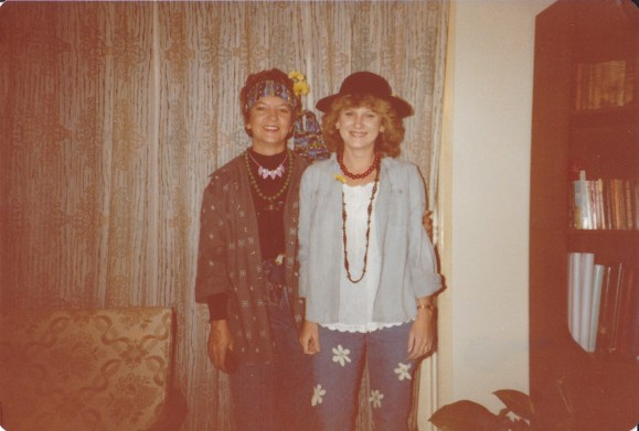 Late 70's or early 80's. Mum & I - dressed to go to a 'Flower Power' 21st birthday party