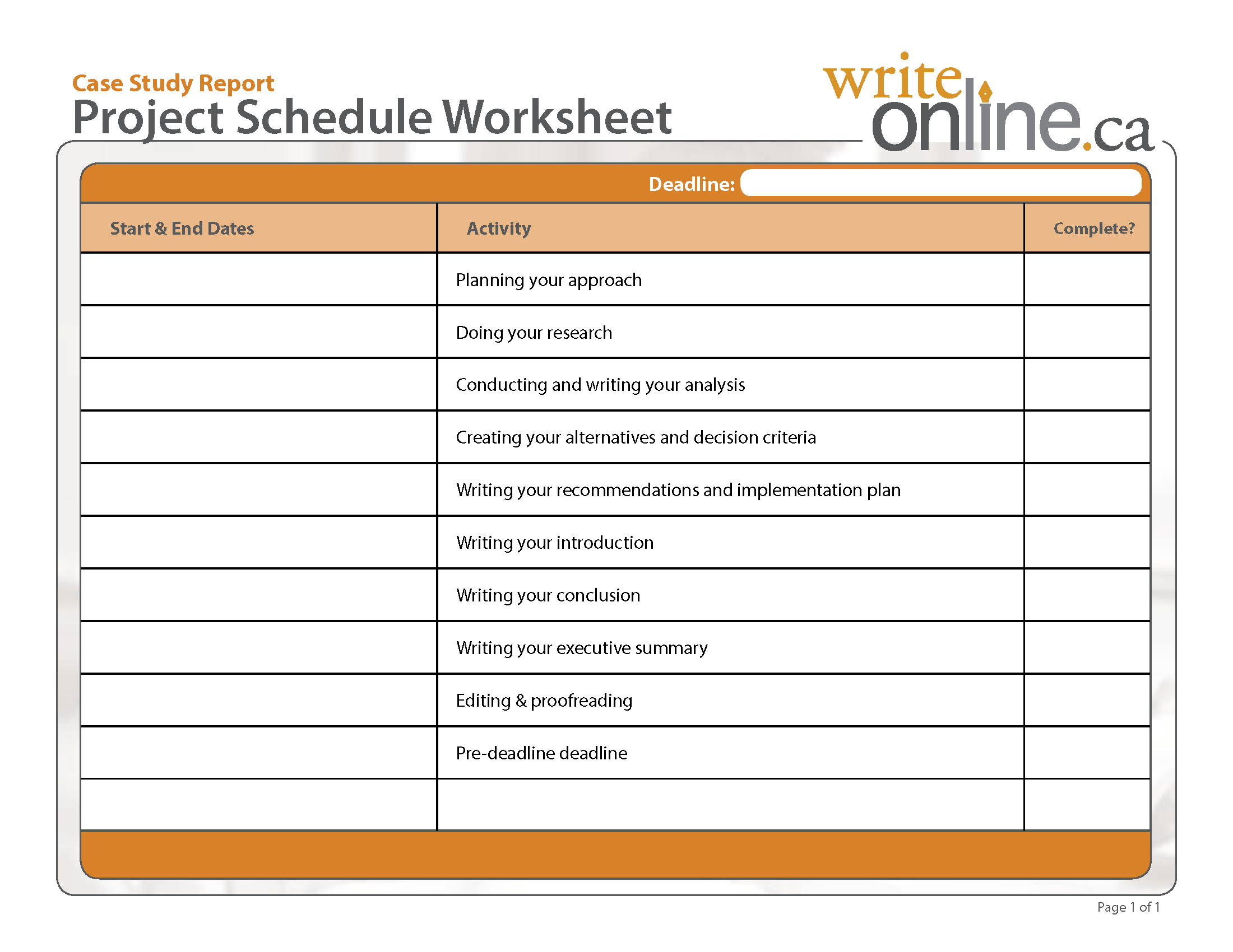 Decision Point Worksheets
