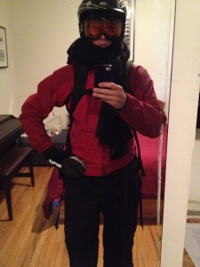 Suited up to cycle through snowy Toronto!