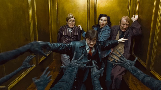 elevator scene - Harry Potter