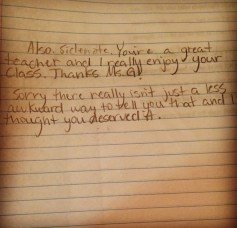 A note from a student