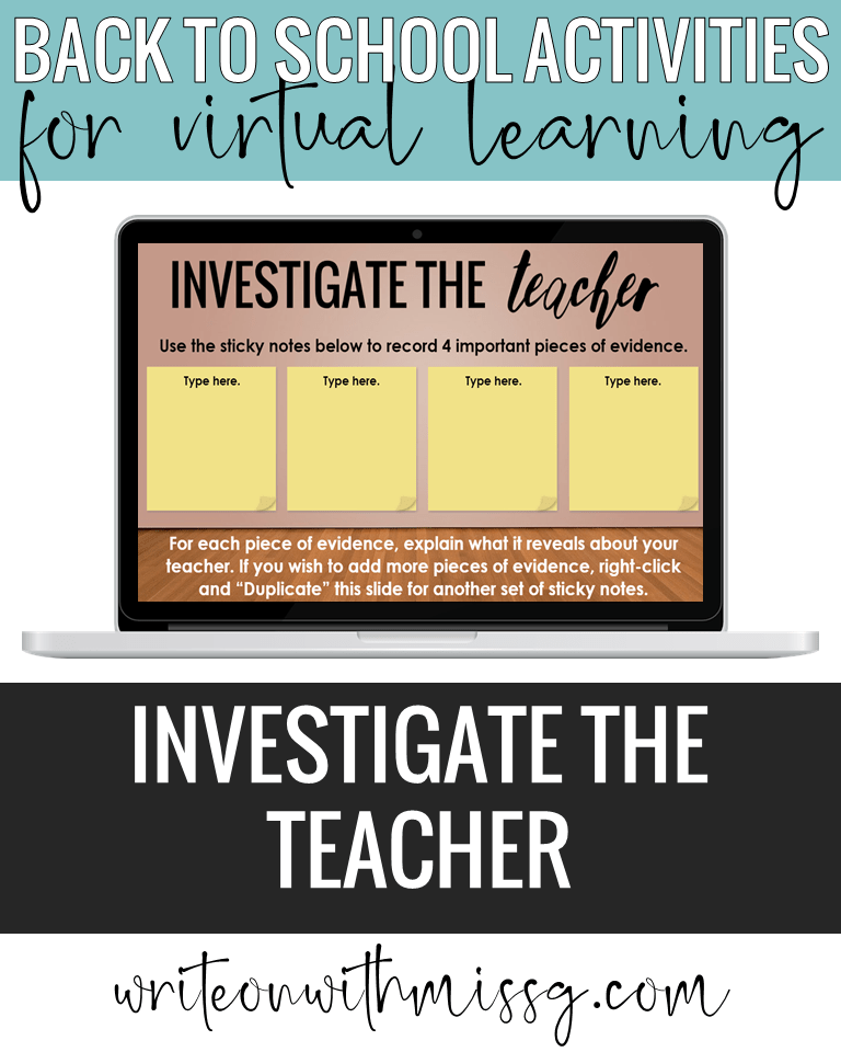 Back to school activity: Investigate the Teacher