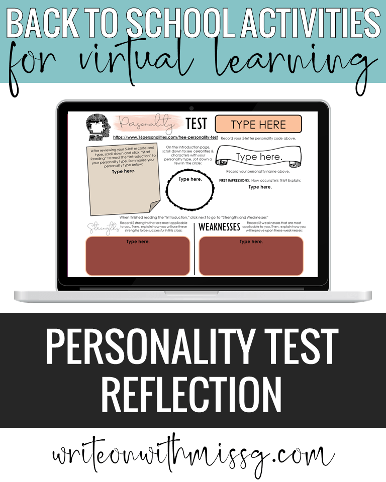 Back to school activity: Personality Test Reflection