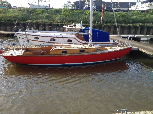 It's the red one. A 1992 Folkboat. And mine.