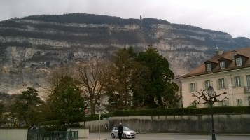 The 'pole' on the top of the mountain is where the cable car would go to, had it been open