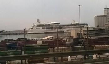 Docked at the port terminal at the bottom end of Las Ramblas