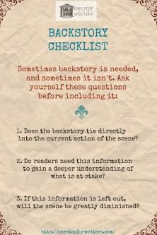 ONE STOP Backstory Checklist