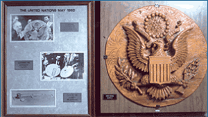 1945 Great Seal Exibit Replica of bugged gift to US Ambassador Harriman Image from NSA Cryptologic Museum
