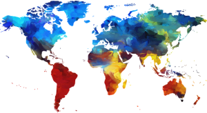 Colorful map of the world