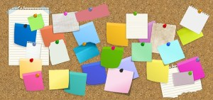 Post it notes on board