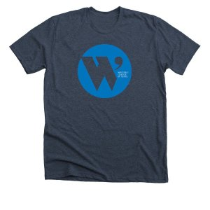 midnight navy t shirt with the W.L.T. circle logo in blue