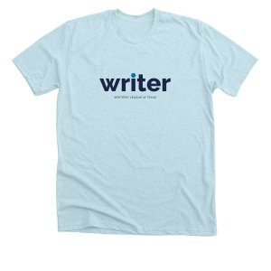Blue T Shirt with Writer in blue text