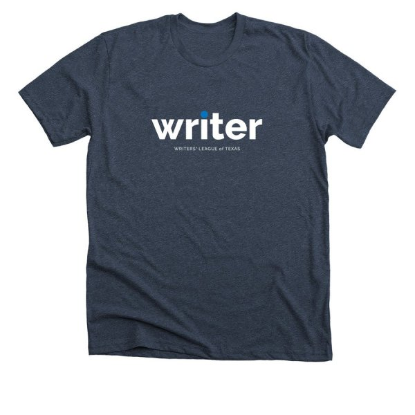 midnight navy t shirt with writer in white text