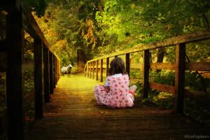 child upon bridge