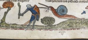 Knight v Snail V:  Revenge of the Snail (from the Smithfield Decretals, southern France (probably Toulouse), with marginal scenes added in England (London), c. 1300-c. 1340, Royal MS 10 E IV, f. 107r)   Medieval Manuscripts Blog, British Library, Sarah J. Biggs
