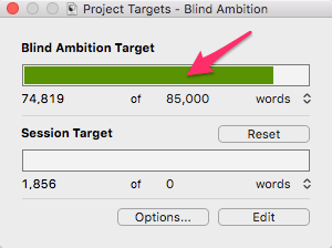 Mac progress bar for manuscript target