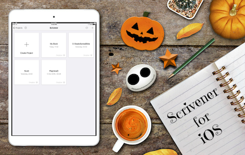 iPad with Scrivener and Halloween images