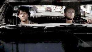 Sam (Jared Padalecki) and Dean (Jensen Ackles) in their Impala.