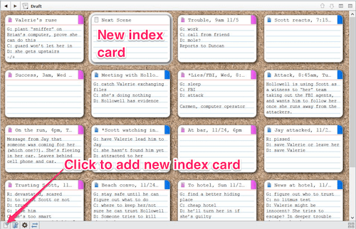Corkboard annotated for adding a new card (win)