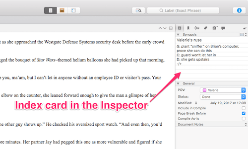 index card in the Inspector (mac)