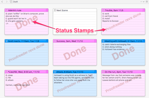 Status stamps on index cards in corkboard (mac)