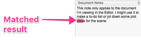 matched word in document notes