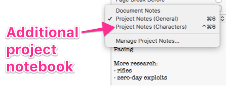 Notes header menu