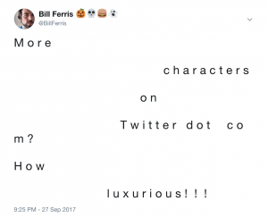 More characters on Twitter dot com? How luxurious!