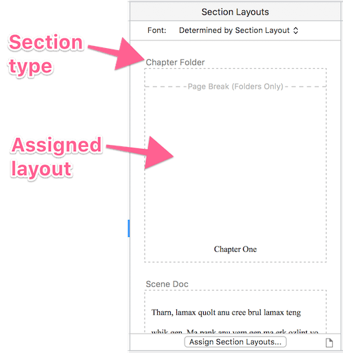 section layouts column showing assignments
