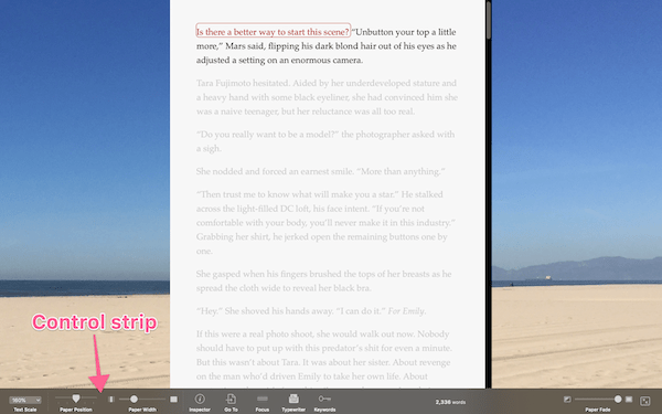 text displayed in full screen composition mode with beach background