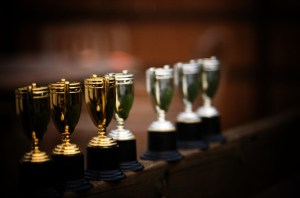 a row of several trophies