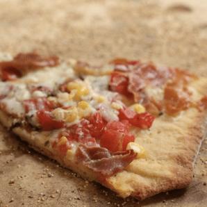 corn + tomato pizza