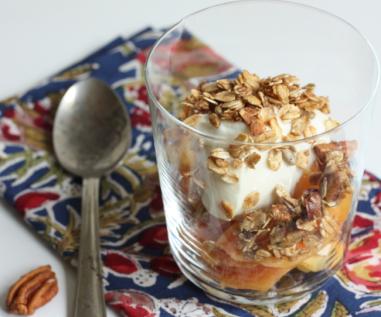 fresh peaches with yogurt and homemade pecan granola   writes4food.com