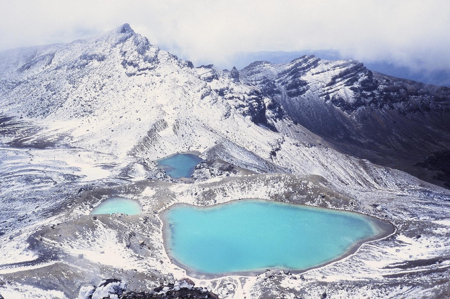 Tongariro lakes from Crater Rim