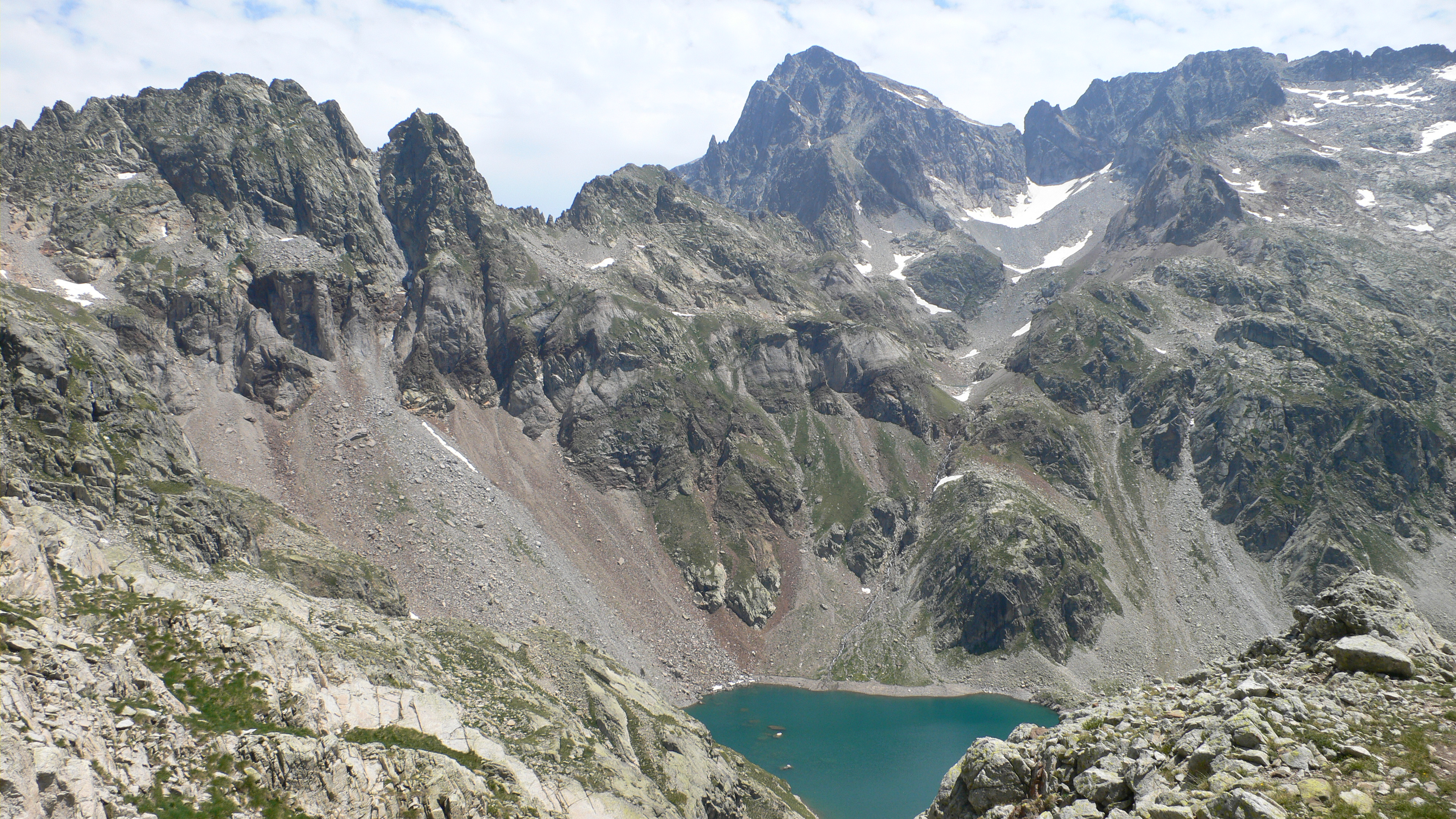 Looking down on the Lacs d'Arriel from the Col du Palas