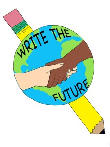 "An image of Earth on top of a pencil. On the Earth are two hands, one black and one white, holding hands. Also on the Earth is the text ""Write The Future""."