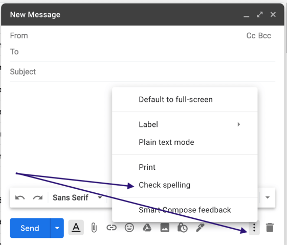 Gmail spell check