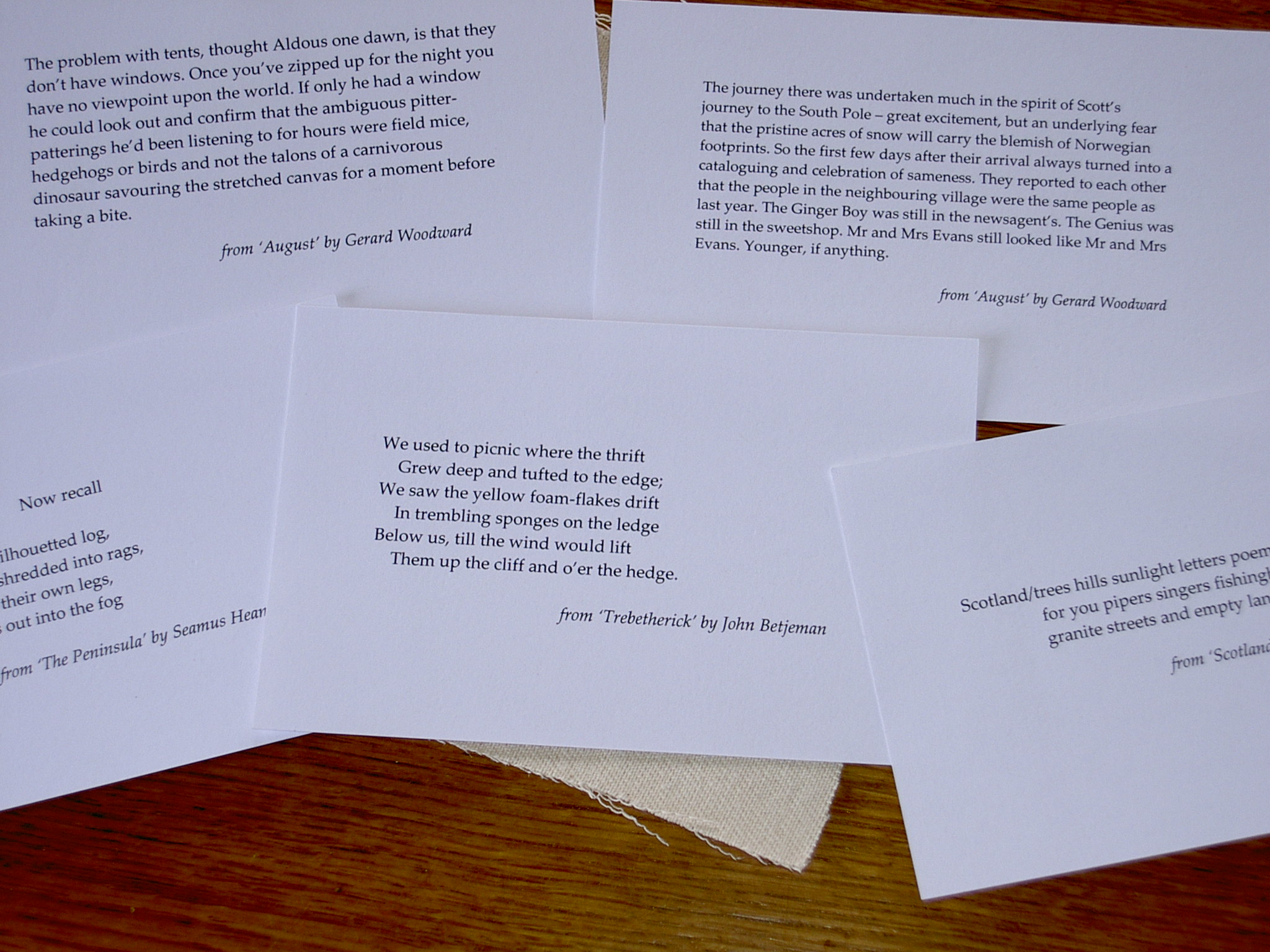 Poetry on postcards