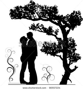 stock-vector-two-lovers-embraces-under-a-tree-a-silhouette-a-vector-illustration-90557224