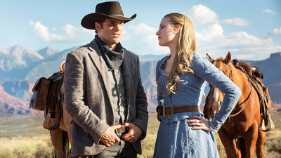 Westworld starring James Marsden and Evan Rachel Wood. Image via HBO.