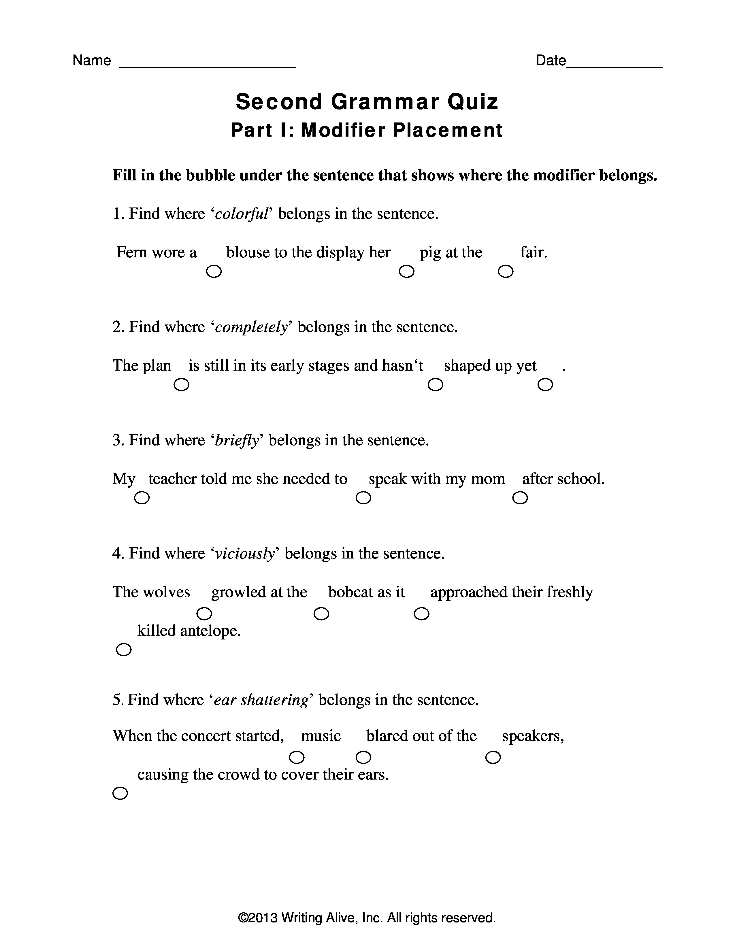 Grammar Quiz For 4th Grade